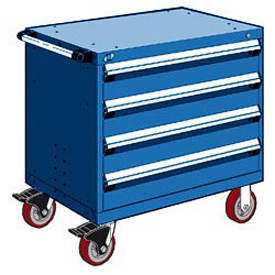 "Rousseau Metal 4 Drawer Heavy-Duty Mobile Modular Drawer Cabinet - 36""Wx24""Dx35-1/2""H Avalanche Blue"