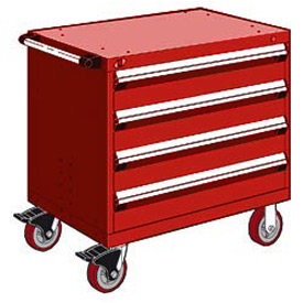 "Rousseau Metal 4 Drawer Heavy-Duty Mobile Modular Drawer Cabinet - 36""Wx24""Dx35-1/2""H Red"