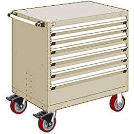 "Rousseau Metal 6 Drawer Heavy-Duty Mobile Modular Drawer Cabinet - 36""Wx24""Dx37-1/2""H Beige"