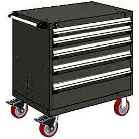 "Rousseau Metal 5 Drawer Heavy-Duty Mobile Modular Drawer Cabinet - 36""Wx24""Dx37-1/2""H Black"