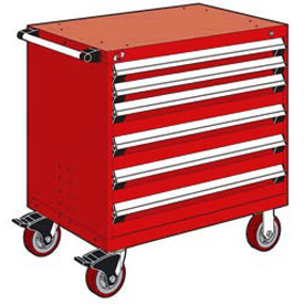 "Rousseau Metal 6 Drawer Heavy-Duty Mobile Modular Drawer Cabinet - 36""Wx24""Dx37-1/2""H Red"