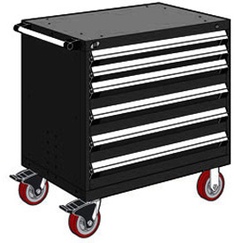 "Rousseau Metal 6 Drawer Heavy-Duty Mobile Modular Drawer Cabinet - 36""Wx24""Dx37-1/2""H Black"