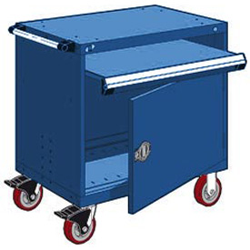 "Rousseau Metal Heavy-Duty Mobile Modular Drawer Cabinet - 36""Wx24""Dx37-1/2""H Avalanche Blue"