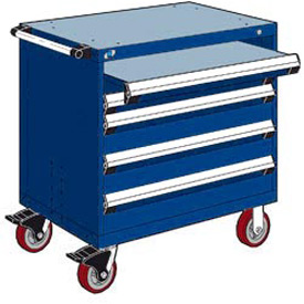 "Rousseau Metal 4 Drawer Heavy-Duty Mobile Modular Drawer Cabinet - 36""Wx24""Dx37-1/2""H Avalanche Blue"