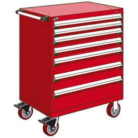 "Rousseau Metal 7 Drawer Heavy-Duty Mobile Modular Drawer Cabinet - 36""Wx24""Dx45-1/2""H Red"
