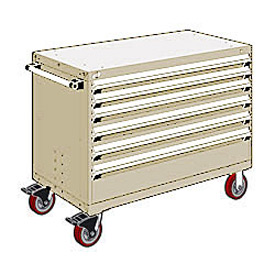 "Rousseau Metal 6 Drawer Heavy-Duty Mobile Modular Drawer Cabinet - 48""Wx24""Dx37-1/2""H Beige"