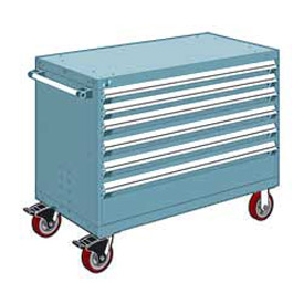 "Rousseau Metal 6 Drawer Heavy-Duty Mobile Modular Drawer Cabinet - 48""Wx24""Dx37-1/2""H Everest Blue"