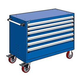 "Rousseau Metal 6 Drawer Heavy-Duty Mobile Modular Drawer Cabinet - 48""Wx24""Dx37-1/2""H Avalanche Blue"