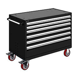 "Rousseau Metal 6 Drawer Heavy-Duty Mobile Modular Drawer Cabinet - 48""Wx24""Dx37-1/2""H Black"