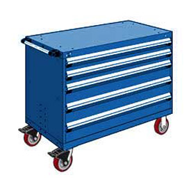 "Rousseau Metal 5 Drawer Heavy-Duty Mobile Modular Drawer Cabinet - 48""Wx24""Dx37-1/2""H Avalanche Blue"