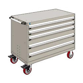 "Rousseau Metal 5 Drawer Heavy-Duty Mobile Modular Drawer Cabinet - 48""Wx24""Dx37-1/2""H Light Gray"