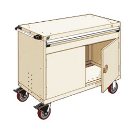 """Rousseau Metal 1 Drawer Heavy-Duty Mobile Modular Drawer Cabinet - 48""""Wx24""""Dx37-1/2""""H Beige"""