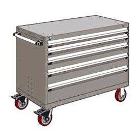 "Rousseau Metal 5 Drawer Heavy-Duty Mobile Modular Drawer Cabinet - 48""Wx27""Dx37-1/2""H Light Gray"