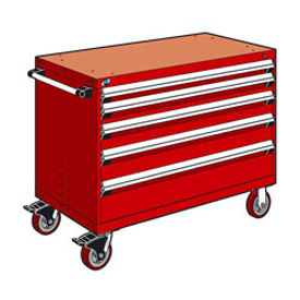 "Rousseau Metal 5 Drawer Heavy-Duty Mobile Modular Drawer Cabinet - 48""Wx27""Dx37-1/2""H Red"