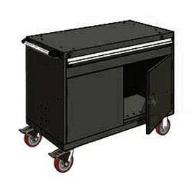"Rousseau Metal 1 Drawer Heavy-Duty Mobile Modular Drawer Cabinet - 48""Wx27""Dx37-1/2""H Black"