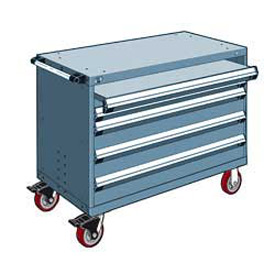 "Rousseau Metal 4 Drawer Heavy-Duty Mobile Modular Drawer Cabinet - 48""Wx27""Dx37-1/2""H Everest Blue"