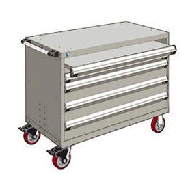 "Rousseau Metal 4 Drawer Heavy-Duty Mobile Modular Drawer Cabinet - 48""Wx27""Dx37-1/2""H Light Gray"