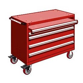 "Rousseau Metal 4 Drawer Heavy-Duty Mobile Modular Drawer Cabinet - 48""Wx27""Dx37-1/2""H Red"