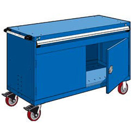 "Rousseau Metal 1 Drawer Heavy-Duty Mobile Modular Drawer Cabinet - 60""Wx24""Dx37-1/2""H Avalanche Blue"