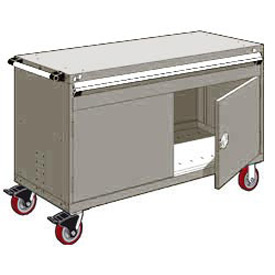"Rousseau Metal 1 Drawer Heavy-Duty Mobile Modular Drawer Cabinet - 60""Wx24""Dx37-1/2""H Light Gray"