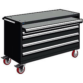 "Rousseau Metal 4 Drawer Heavy-Duty Mobile Modular Drawer Cabinet - 60""Wx24""Dx37-1/2""H Black"
