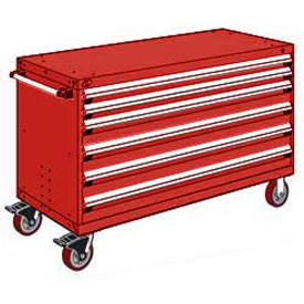 "Rousseau Metal 6 Drawer Heavy-Duty Mobile Modular Drawer Cabinet - 60""Wx27""Dx37-1/2""H Red"