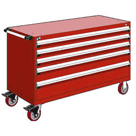"Rousseau Metal 5 Drawer Heavy-Duty Mobile Modular Drawer Cabinet - 60""Wx27""Dx37-1/2""H Red"