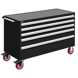 "Rousseau Metal 5 Drawer Heavy-Duty Mobile Modular Drawer Cabinet - 60""Wx27""Dx37-1/2""H Black"