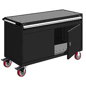 "Rousseau Metal 1 Drawer Heavy-Duty Mobile Modular Drawer Cabinet - 60""Wx27""Dx37-1/2""H Black"