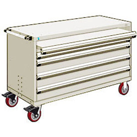 "Rousseau Metal 4 Drawer Heavy-Duty Mobile Modular Drawer Cabinet - 60""Wx27""Dx37-1/2""H Beige"