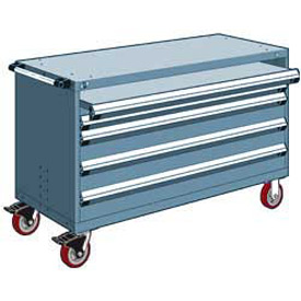 "Rousseau Metal 4 Drawer Heavy-Duty Mobile Modular Drawer Cabinet - 60""Wx27""Dx37-1/2""H Everest Blue"