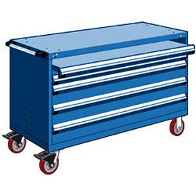 "Rousseau Metal 4 Drawer Heavy-Duty Mobile Modular Drawer Cabinet - 60""Wx27""Dx37-1/2""H Avalanche Blue"