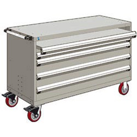 "Rousseau Metal 4 Drawer Heavy-Duty Mobile Modular Drawer Cabinet - 60""Wx27""Dx37-1/2""H Light Gray"