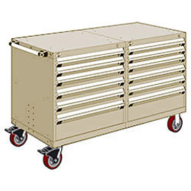 "Rousseau 12 Drawer Heavy-Duty Double Mobile Modular Drawer Cabinet - 48""Wx27""Dx37-1/2""H Beige"