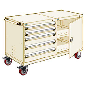 """Rousseau 5 Drawer Heavy-Duty Double Mobile Modular Drawer Cabinet - 48""""Wx27""""Dx37-1/2""""H Beige"""