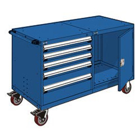 """Rousseau 5 Drawer Heavy-Duty Double Mobile Modular Drawer Cabinet -48""""Wx27""""Dx37-1/2""""H Avalanche Blue"""