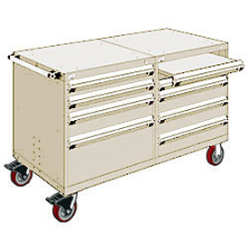 "Rousseau 8 Drawer Heavy-Duty Double Mobile Modular Drawer Cabinet - 48""Wx27""Dx37-1/2""H Beige"
