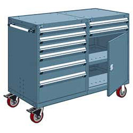 "Rousseau 8 Drawer Heavy-Duty Double Mobile Modular Drawer Cabinet - 48""Wx27""Dx45-1/2""H Everest Blue"