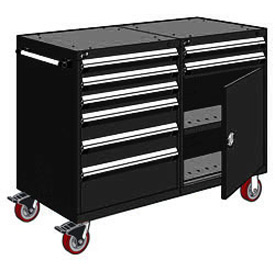 "Rousseau 8 Drawer Heavy-Duty Double Mobile Modular Drawer Cabinet - 48""Wx27""Dx45-1/2""H Black"