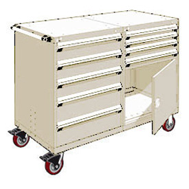 "Rousseau 9 Drawer Heavy-Duty Double Mobile Modular Drawer Cabinet - 48""Wx27""Dx45-1/2""H Beige"