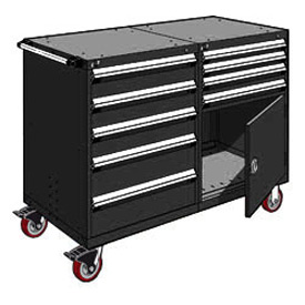 "Rousseau 9 Drawer Heavy-Duty Double Mobile Modular Drawer Cabinet - 48""Wx27""Dx45-1/2""H Black"