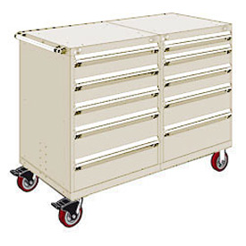 "Rousseau 10 Drawer Heavy-Duty Double Mobile Modular Drawer Cabinet - 48""Wx27""Dx45-1/2""H Beige"