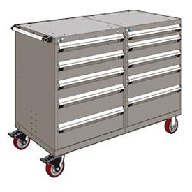 "Rousseau 10 Drawer Heavy-Duty Double Mobile Modular Drawer Cabinet - 48""Wx27""Dx45-1/2""H Light Gray"