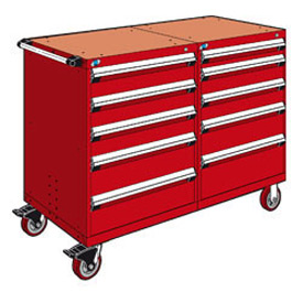 "Rousseau 10 Drawer Heavy-Duty Double Mobile Modular Drawer Cabinet - 48""Wx27""Dx45-1/2""H Red"