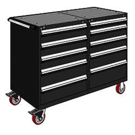"Rousseau 10 Drawer Heavy-Duty Double Mobile Modular Drawer Cabinet - 48""Wx27""Dx45-1/2""H Black"