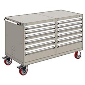 "Rousseau 12 Drawer Heavy-Duty Double Mobile Modular Drawer Cabinet - 60""Wx27""Dx37-1/2""H Light Gray"