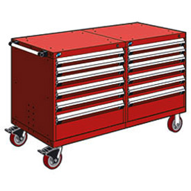 "Rousseau 12 Drawer Heavy-Duty Double Mobile Modular Drawer Cabinet - 60""Wx27""Dx37-1/2""H Red"