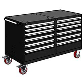 "Rousseau 12 Drawer Heavy-Duty Double Mobile Modular Drawer Cabinet - 60""Wx27""Dx37-1/2""H Black"