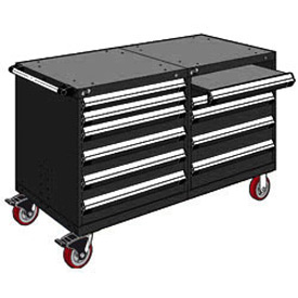 "Rousseau 10 Drawer Heavy-Duty Double Mobile Modular Drawer Cabinet - 60""Wx27""Dx37-1/2""H Black"