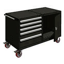 "Rousseau 5 Drawer Heavy-Duty Double Mobile Modular Drawer Cabinet - 60""Wx27""Dx37-1/2""H Black"